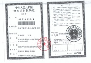 芜湖艾森格生物技术有限公司组织机构代码证